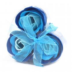 6 Sets 3 flores jabón caja corazón - rosas azules