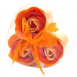 6 Sets 3 flores jabón caja corazón - rosas melocotón