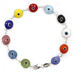 Pulsera ojo turco engarzada - multicolor