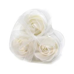 6 Sets 3 flores jabón caja corazón - rosas blancas
