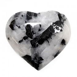Piedras corazón - cuarzo blanco con turmalina 200 a 225gr.
