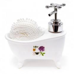 Bañera dispensador jabón con esponja - rosa