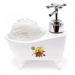 Bañera dispensador jabón con esponja - rosa roja