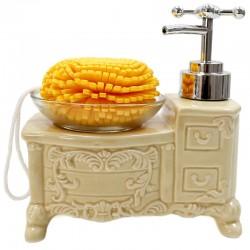Dispensador jabón vintage con esponja - naranja