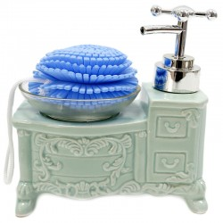 Dispensador jabón vintage con esponja - azul