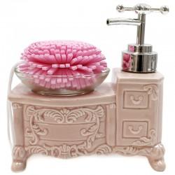 Dispensador jabón vintage con esponja - rosa