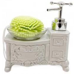 Dispensador jabón vintage con esponja - gris