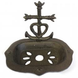 1 Jabonera hierro fundido corazón y cruz natural