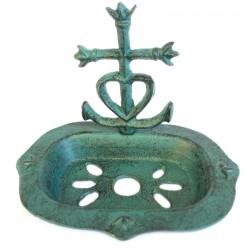 1 Jabonera hierro fundido corazón y cruz verdigrís