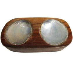 3 Doble jabonera concha madera sonokeling