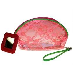 6 Bolsas maquillaje encaje - rosa