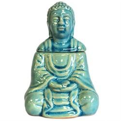 Quemador aceite Buda sentado - azul