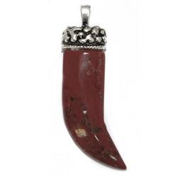 3 Colgantes cuerno gema - jaspe rojo