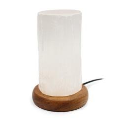 2 Lámparas selenita USB cilindro 15 cm multicolor