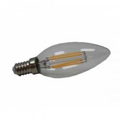 E14 filamento led 4W regulable 350lm 2700k ángulo 360º tipo vela rosca finasa