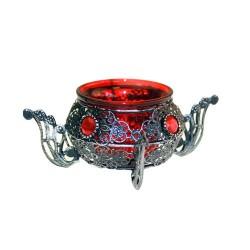 Soporte vela cazo rojo estilo árabe simple