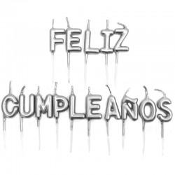 12 Velas plateadas feliz cumpleaños