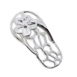 Colgante plata chancla flor