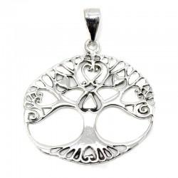 Colgante plata árbol de la vida corazón