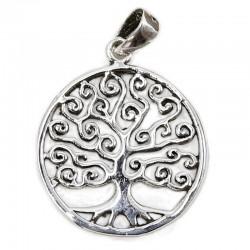 Colgante plata árbol de la vida flor
