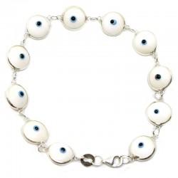 Pulsera ojo turco engarzada - blanco