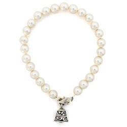 Pulsera perlas con campana de plata