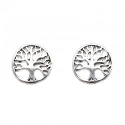 Pendientes plata árbol de la vida círculo