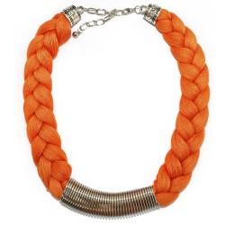 3 Collares trenzado Griego - naranja, verde y ámbar