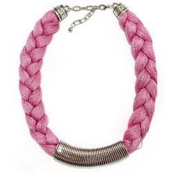 3 Collares trenzado Griego - rosa, azul y lila
