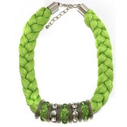 3 Collares trenzado Indio - naranja, verde y ámbar