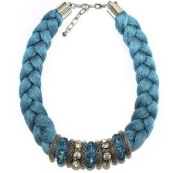 3 Collares trenzado Indio - rosa, azul y lila