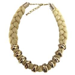 3 Collares trenzado Venecia - marrón, gris y beige