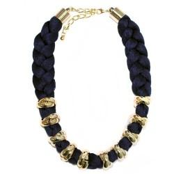 3 Collares trenzado Venecia - azul, negro y vino