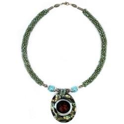 Collar perla y nácar - coral turquesa