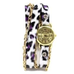 Reloj brazalete - leopardo lila
