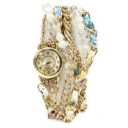Reloj brazalete - perlas y cristal turquesa