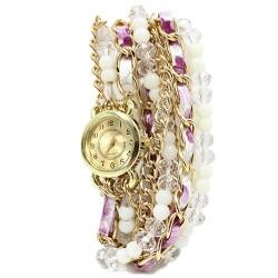 Reloj brazalete - perlas y cristal lila