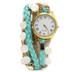 Reloj brazalete - turquesa trenzado y nácar