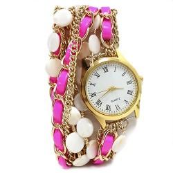 Reloj brazalete - rosa fluorescente y nácar