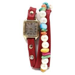 Reloj brazalete - rojo y perlas