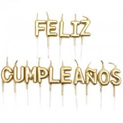 12 Velas doradas feliz cumpleaños