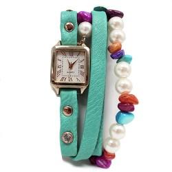 Reloj brazalete - turquesa y perlas
