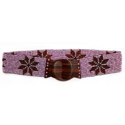 Cinturón cuentas elástico flor - rosa | ámbar