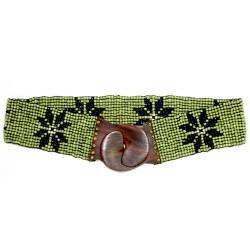 Cinturón cuentas elástico flor - verde | negro