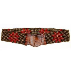 Cinturón cuentas elástico flor - oro | coral rojo