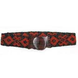 Cinturón cuentas elástico Alhambra - negro | naranja