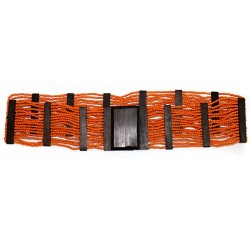 Cinturón ébano y hebilla cuadrada - naranja