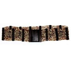 Cinturón ébano y hebilla cuadrada - ámbar y coral
