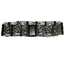 Cinturón ébano y hebilla cuadrada - titanio