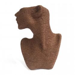 Busto clásico de collar y pendientes - chocolate